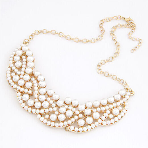New Fashion Women Pearl Hollow Gold Choker Bib Collar Statement Necklace Pendant