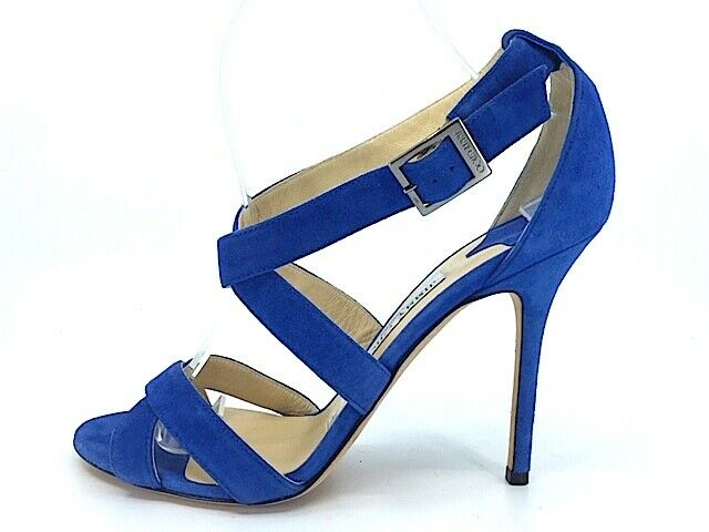 Jimmy Choo Cobalt azul Suede  Lottie  Correa Correa Correa Ancha Cruzado Sandalias Talla 40.5  gran descuento