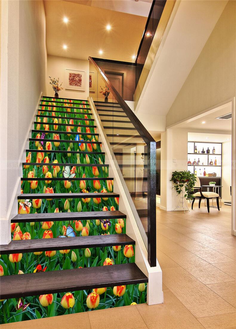 3D Knospe Blume 789 Stair Risers Dekoration Fototapete Vinyl Aufkleber Tapete DE