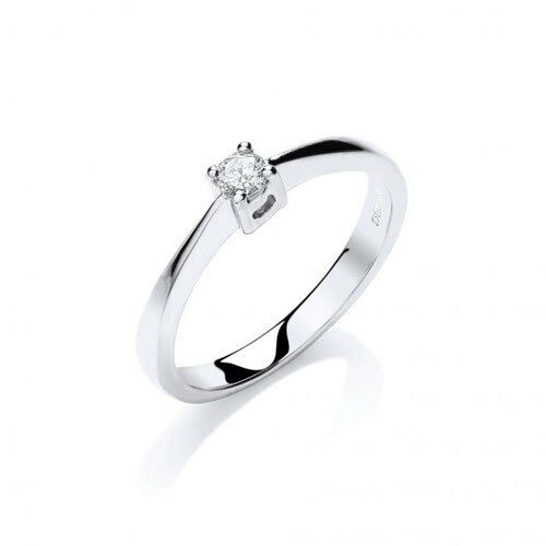 9ct White gold Solitaire Diamond Ring 0.10ct
