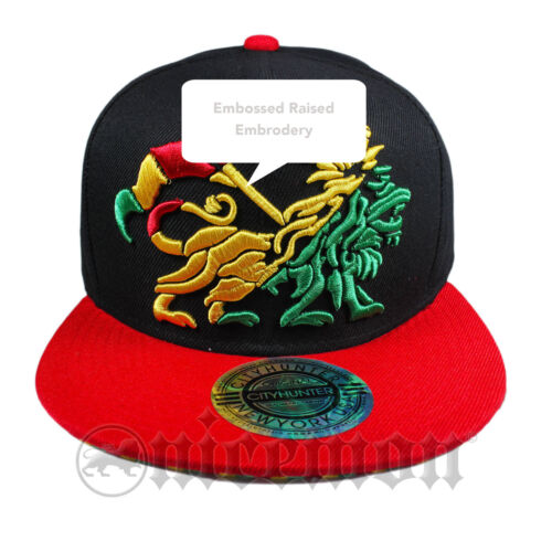 Lion Rasta Snapback Cap Hat Flat Visor Snap Back Hip Hop Hiphop Rastafari IRIE