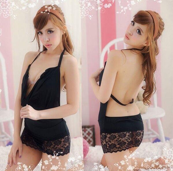 Hot Sexy Lingerie Lace Dress Underwear Black Babydoll Sleepwear Pajamas+G-string