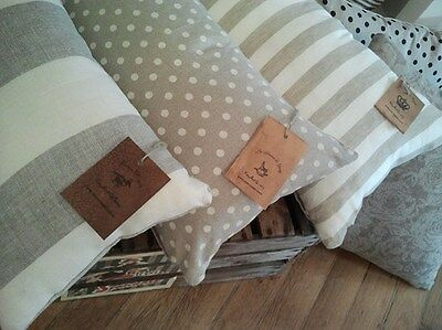 Cushion Pillow Cover  PURE NATURAL LINEN  (30 cm x 50 cm)    polka dots