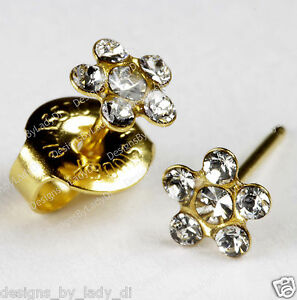 Image Is Loading Clear Crystal Daisy Flower Gold Studs Ear Piercing
