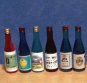 1/12, Dolls House Miniature bottle Set of 6 Mixed Bottles Wine Beer Etc BN LGW