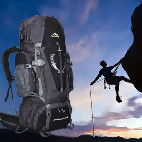 80L Waterproof Backpack Bag Camping Hiking Travel Outdoor Sports Rucksack NEW