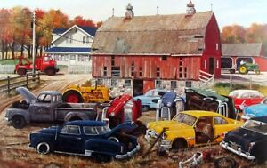 """Fall Plowing by Ken Zylla Old Time Diner and Car Print SN   28/"""" x 18/"""""""