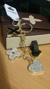 Flower-Heart-Key-Chain-Bag-Purse-Charm-Ring-Crystals-Keychain
