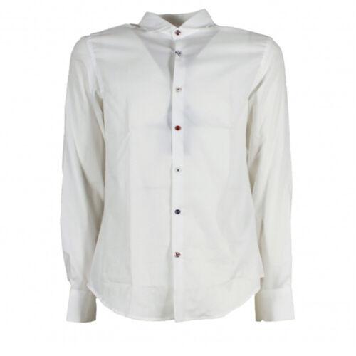 Camicia uomo Koon N877-BOTT manica lunga celeste bianco cotone slim fit italy
