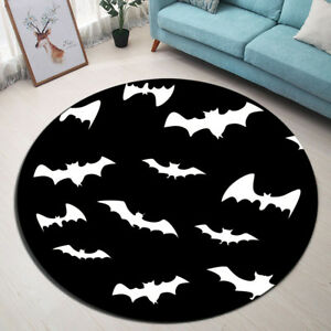 Image Is Loading Round Floor Carpet Black White Bat Bedroom Area
