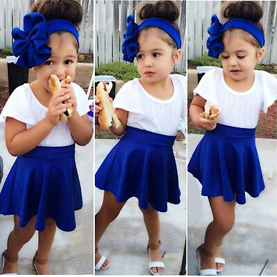 Baby Kids Girls Dress T-shirt + Short Skirt 2pcs Party Outfits Sets Dress 2-9Y