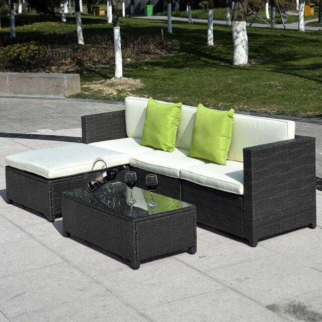 Giantex Outdoor Patio 5pc Furniture Sectional Pe Wicker Rattan Sofa