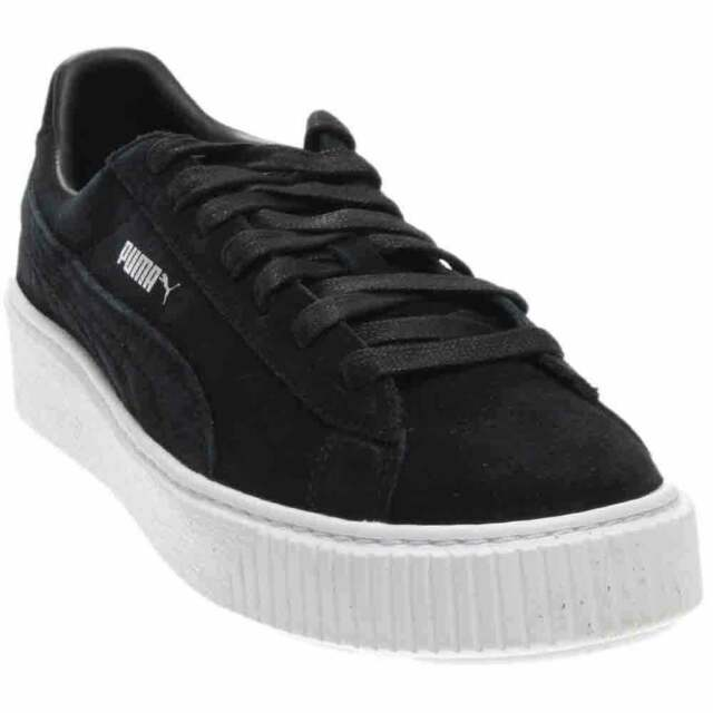 PUMA Suede Platform 36222301 Black White Casual Fashion Shoes Medium Women  Blacks 9