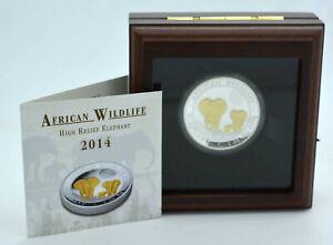 1-oz-Silber-PP-2014-Somalia-100-Shilling-Elefant-High-Relief-gilded-Auflage-500