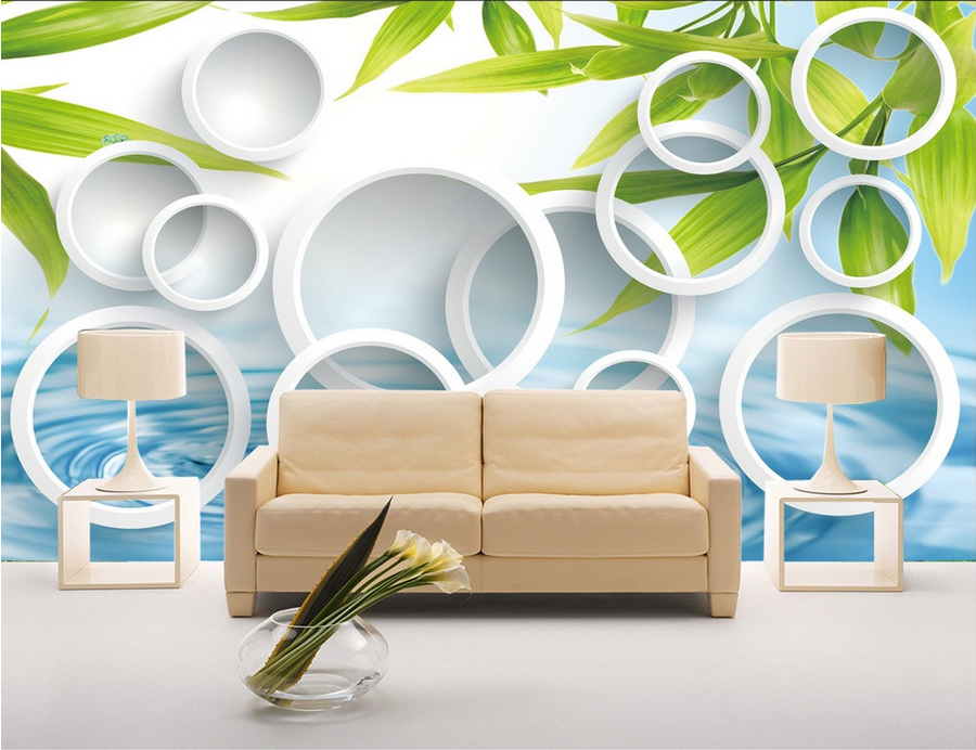 3D Bamboo Leaves Lake 64 Paper Wall Print Wall Decal Wall Deco Indoor Murals