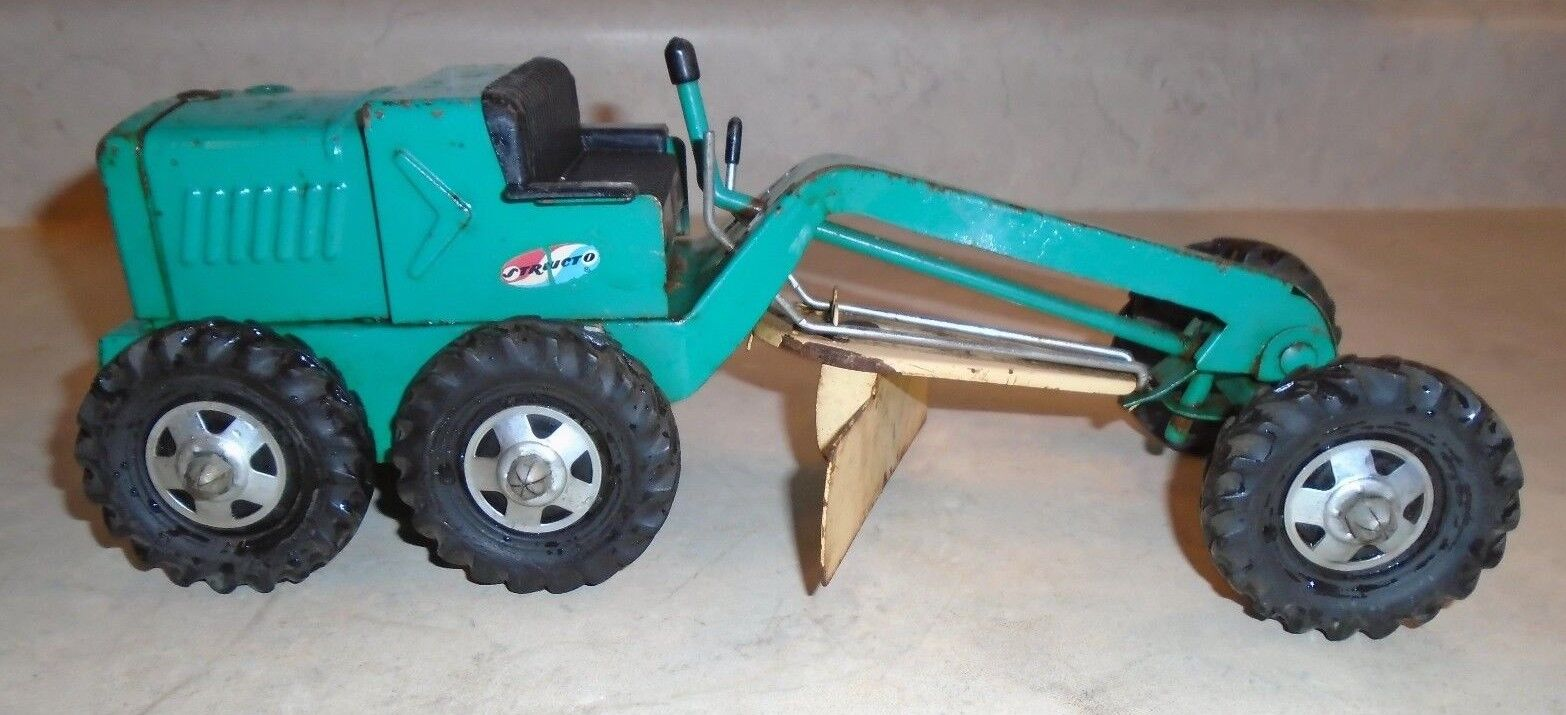 Vintage 70s Structo Road Grader, Green Pressed Steel
