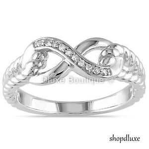 WOMEN-039-S-925-STERLING-SILVER-INFINITY-KNOT-FRIENDSHIP-LOVE-PROMISE-RING-SIZE-4-10