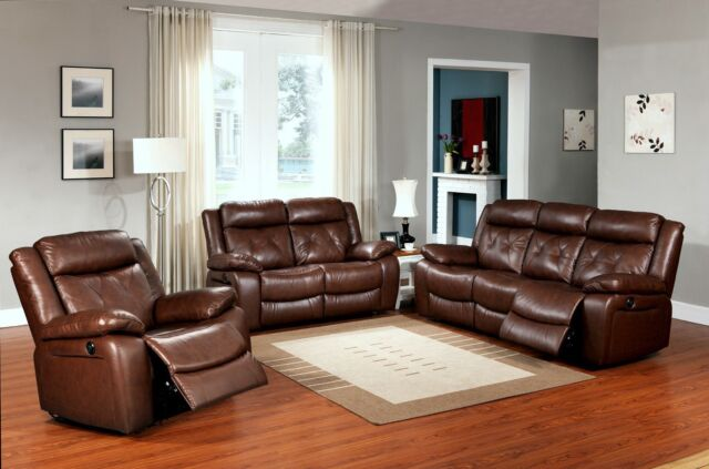 Wondrous Brown 3 Pc Top Grain Leather Power Reclining Sofa Set Bralicious Painted Fabric Chair Ideas Braliciousco