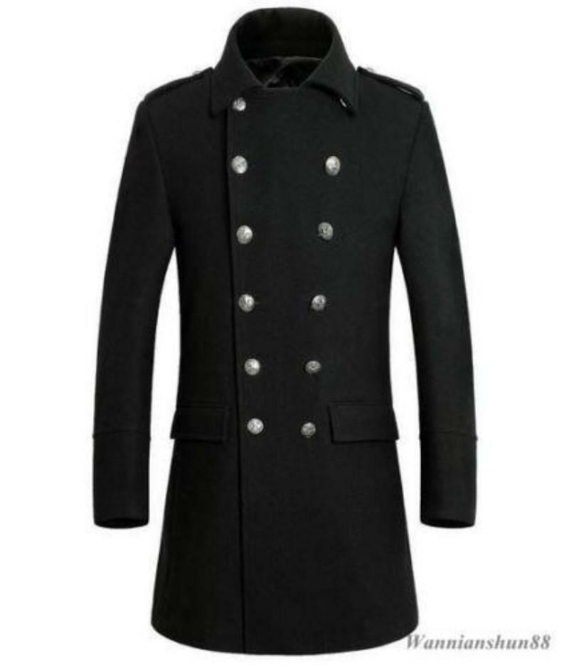 Nuovo Uomo winter military peacoat double breasted Outerwear coat woolen trench Outerwear breasted 20 a91c6f
