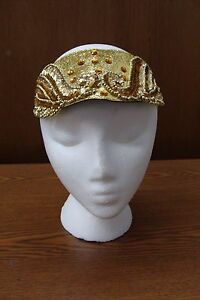 FLAPPER-ROARING-20-039-S-HEADPIECE-COSTUME-ACCESSORY-GOLD-BEADING