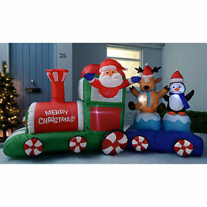 Large inflatable santa claus train garden christmas for Outdoor christmas train decoration