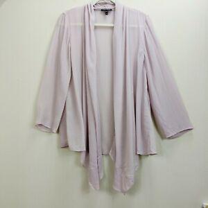 Eileen-Fisher-Medium-Sheer-Chiffon-Cardigan-Pink-Jacket-Blouse-Top-Open-Silk
