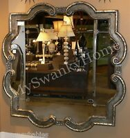 Extra Large 36 Ornate Silver Square Wall Mirror Quatrefoil Neiman Marcus Vanity
