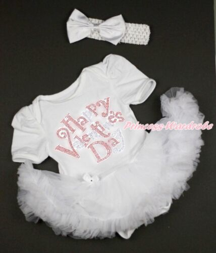 Rhinestone Happy Valentine/'s Day White Girl Bodysuit White Baby Dress NB-18Month