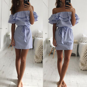 f3ec1d61d13e Image is loading Ladies-Strapless-Casual-Beach-Party-Shirt-Dresses-Women-