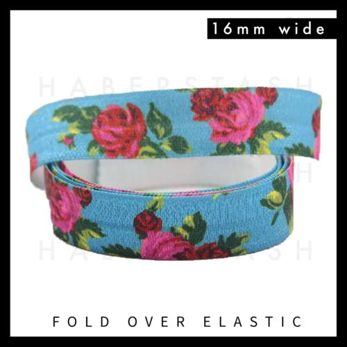 """Roses on Blue Fold Over Elastic FOE 5//8/"""" 16mm per metre Floral Flowers Red Pink"""