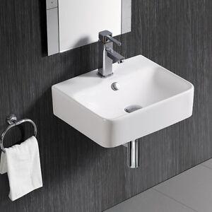 eckig wei waschbecken waschtisch handwaschbecken aufsatzbecken wandmontage 4122 ebay. Black Bedroom Furniture Sets. Home Design Ideas