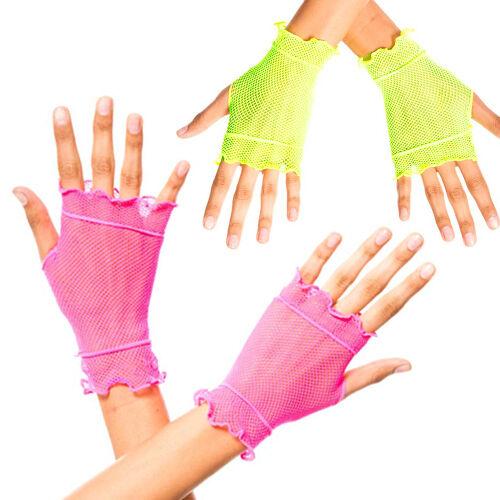 Fingerless Fishnet Neon Colors Wrist Length Punk Rave Ruffled Mesh Dance Gloves