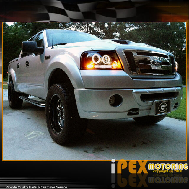 2004-2008 Ford F150 F-150 / 06-08 MARK LT Halo Projector LED Black Headlights