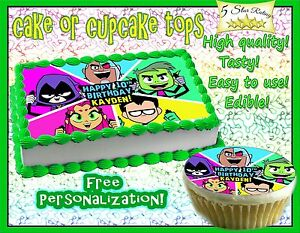Teen Titans Go Birthday Cake topper Edible Icing Image Photo sheet