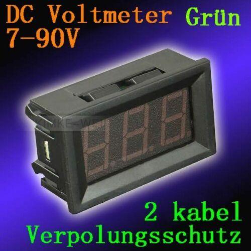 DC 7-90V Grün Led Digital Voltmeter Spannungsmesser Voltanzeige Panel Meter