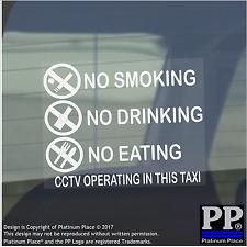 2 X Pegatinas de Advertencia de taxi-no fumar, comer, beber-Cctv en Operación, advertencia