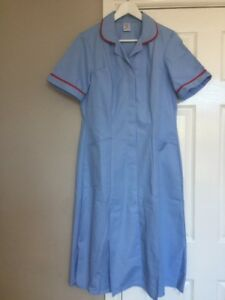 Alexandra H185 Nurse Carer Work Dress Sky Light blue Red Trim Size 14