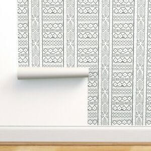 Peel And Stick Removable Wallpaper Tribal African Mudcloth Black Ethnic Ebay