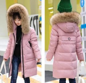 bd61d57d6326 GIRLS QUILTED WINTER COAT FUR COLLAR HOODED JACKET PARKA SIZE AGE 4 ...