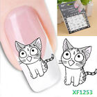 1PC 3D Fashion Water Transfer Decal Cute Cats Black Decals Nail Art Sticker