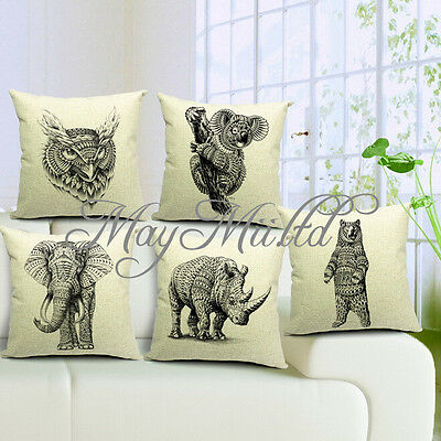 New Vintage Animal Linen Cotton Pillow Case Sofa Bed Home Car Cushion Cover H