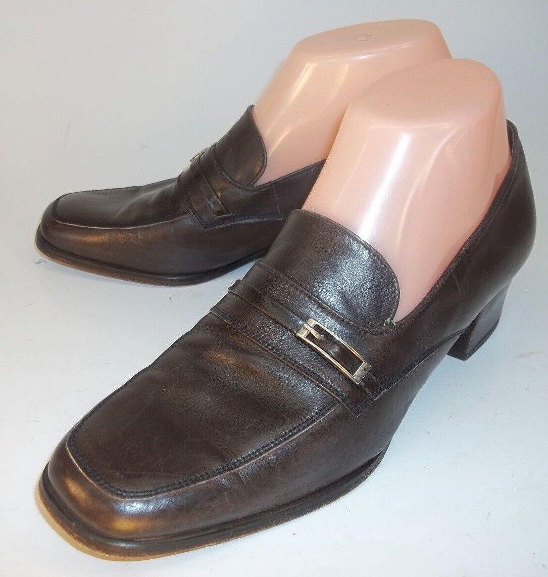 Pepe Catala Mallorca Wos Loafer Heels EU 37 marron Leather Work Dress  380