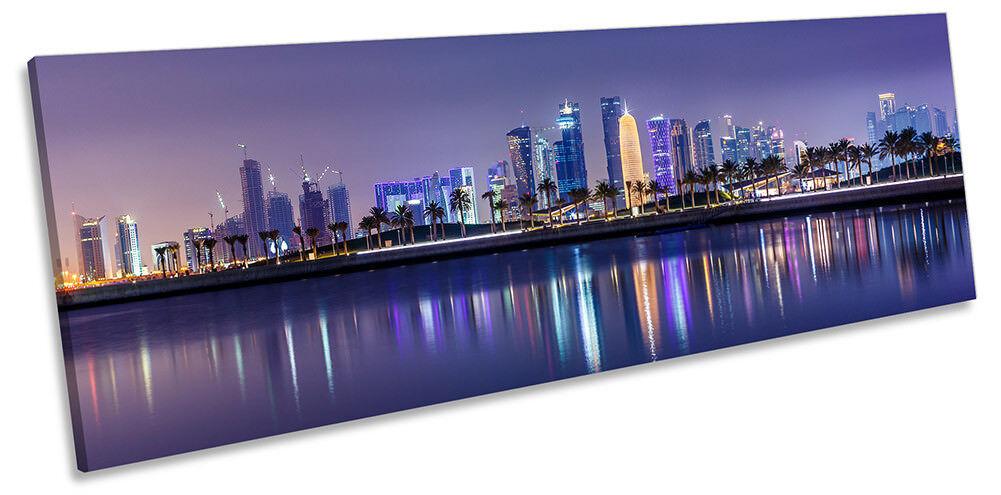 Doha Skyline City Qatar Framed PANORAMA CANVAS PRINT Wall Art