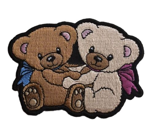 Cuddling Teddy Bears Couple Love BFF Embroidered Iron On Novelty Cosplay Patch