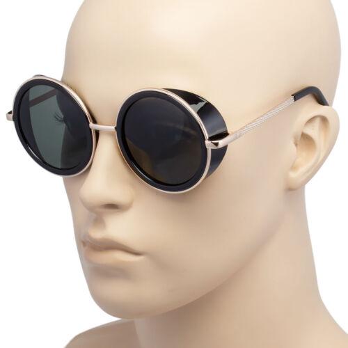 Black Vintage Retro Steampunk Gothic Side Shield Hipster Round Sunglasses