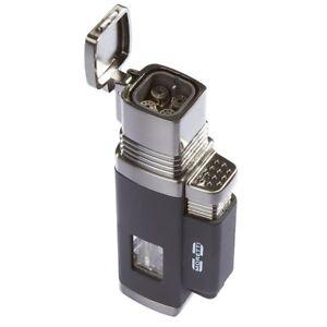 Moretti-Churchill-Quad-Torch-Flame-Cigar-Lighter-Black-New