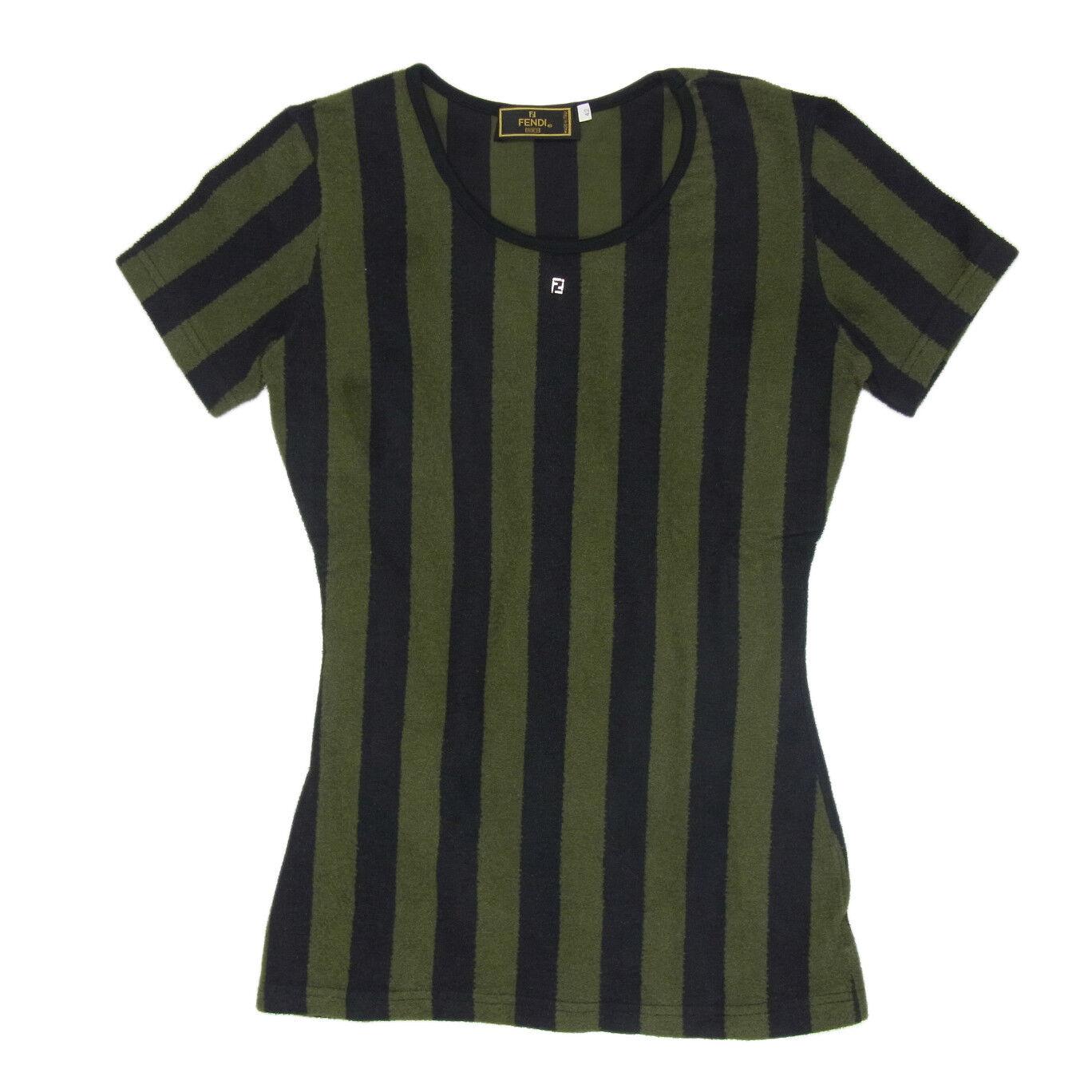 Auth FENDI Vintage Logos Pequin Pattern Cotton T Shirt Tops Sz 42 US M F S 1531