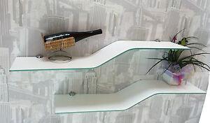mensola in vetro curvato design vari colori con supporti