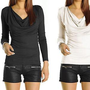 Damen-Bluse-Shirt-Langarmshirt-Damenshirt-Tops-Schwarz-Weiss-Elegant-neu-gr-t51p