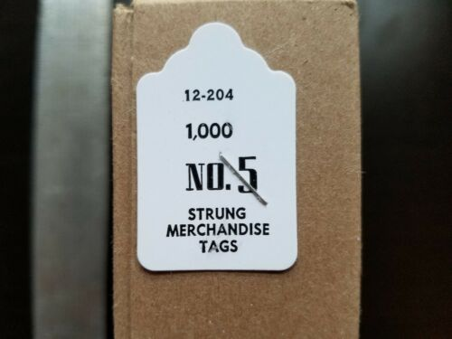1000 Blank White Merchandise Price Tags with Strings Size #5 Retail Strung Label